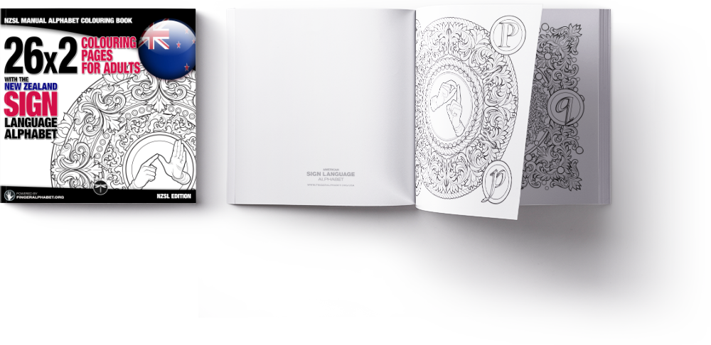 NZSL Alphabet colouring book by Lassal for Project FingerAlphabet